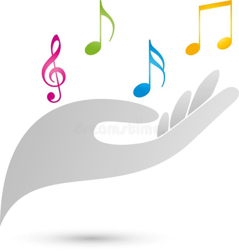 Примечания музыки и логотип руки, музыки и звука иллюстрация штока