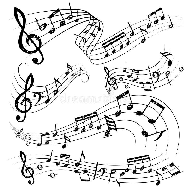 Примечания оркестра Знак или ядровая консерватория гитары музыканта символов замечают собрание вектора иллюстрация вектора