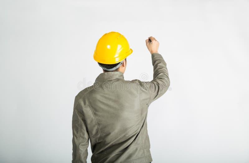 Примечания сочинительства рабочий-строителя стоковое изображение rf