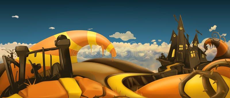 примечания лунного света halloween летучей мыши предпосылки Панорама ландшафта шаржа вектор 3d иллюстрация вектора