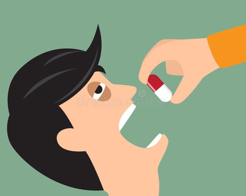 Примите вашу концепцию медицины Персона кладет таблетку в рот вектор иллюстрация вектора
