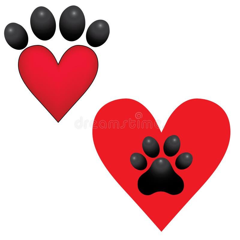 Примите иллюстрацию помощи вектора сердца лапки собаки животную иллюстрация вектора