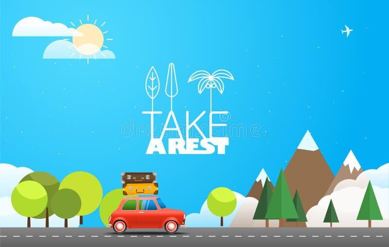 Примите каникулы путешествуя концепция с красным автомобилем бесплатная иллюстрация