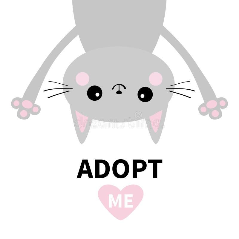 Примите меня Не купите Серый кот Upsidedown смертной казни через повешение Розовое сердце Принятие любимчика Животное Kawaii Милы иллюстрация штока