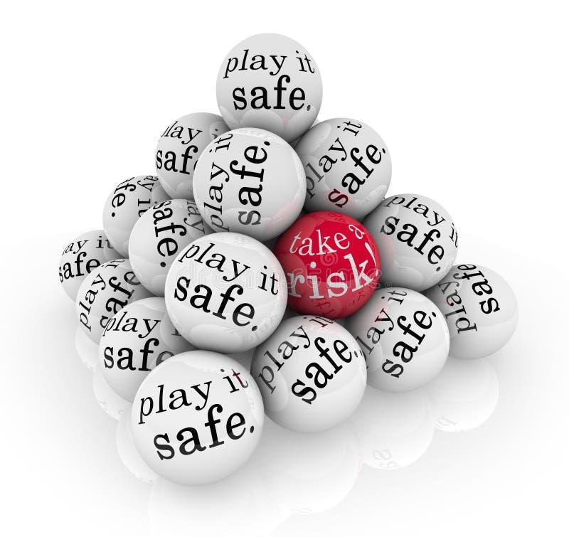 Примите риск или сыграйте его безопасные шарики пирамидки иллюстрация штока