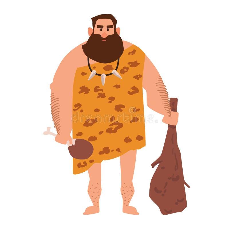 Примитивный архаический человек одетый в одеждах сделанных шкуры и придержанных cudgel Троглодит от каменного века Мужской характ бесплатная иллюстрация