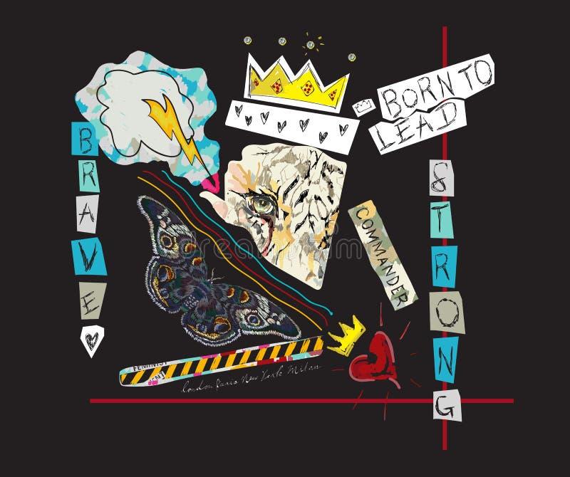 Принесенный для того чтобы привести лозунг с тигром, кроной и бабочкой Vector коллаж искусства шипучки для футболки и напечатанно бесплатная иллюстрация