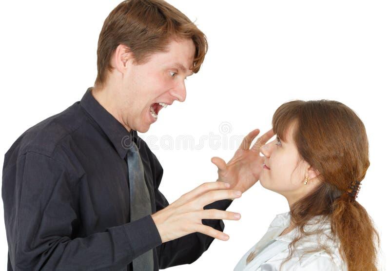 принесенный раж человека к женщине стоковая фотография rf