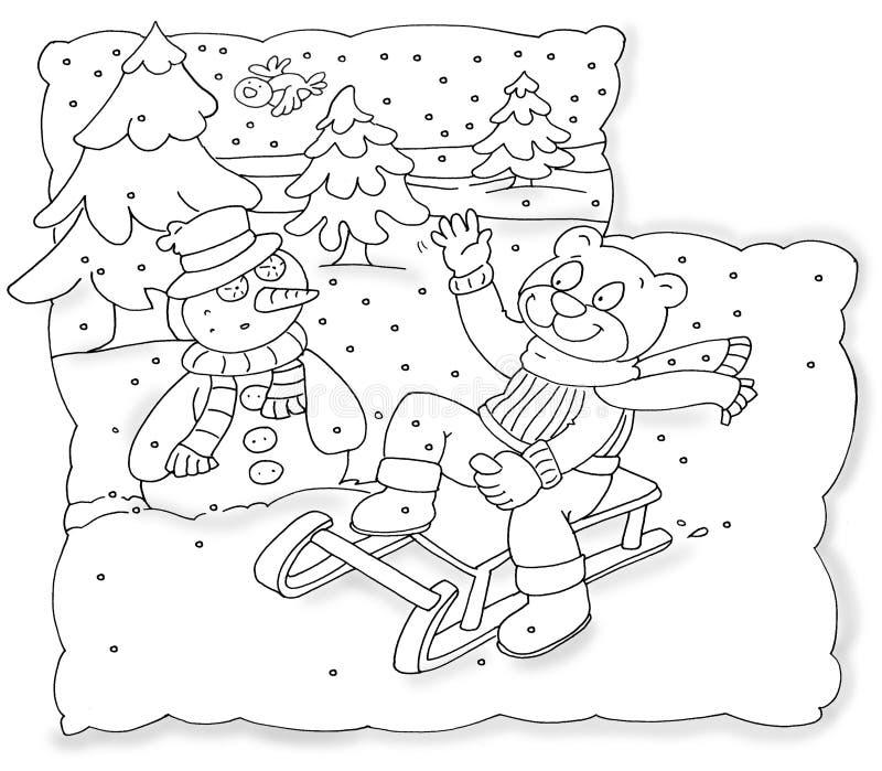 Принесите верхнее скольжение которое приветствует Китай снеговика крася юмористических детей бесплатная иллюстрация