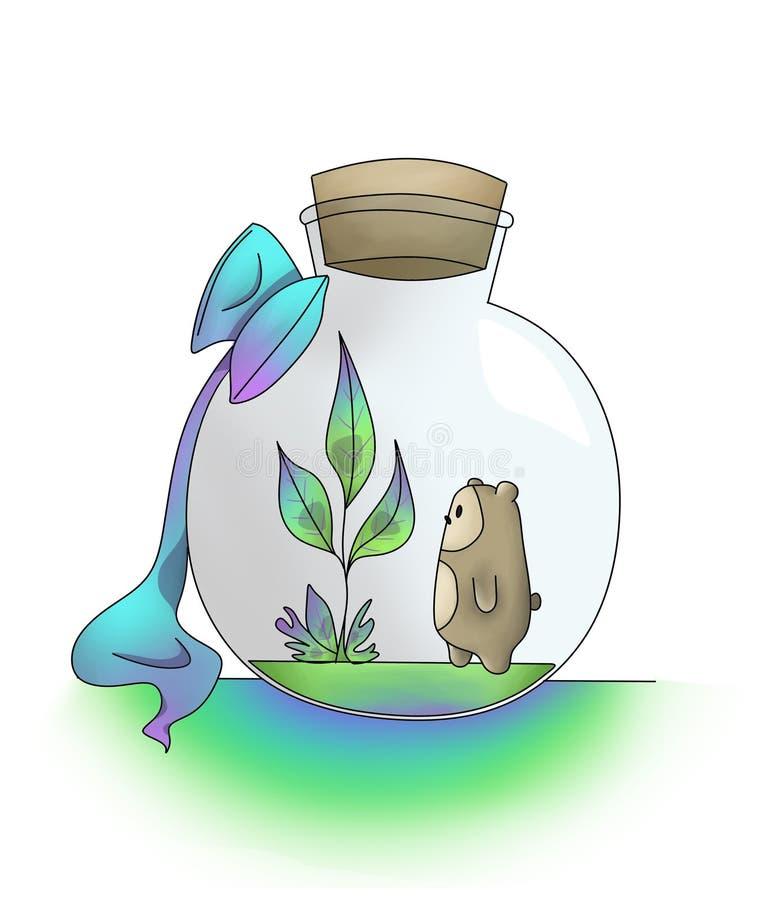 Принесите изучить мир в склянке иллюстрация штока