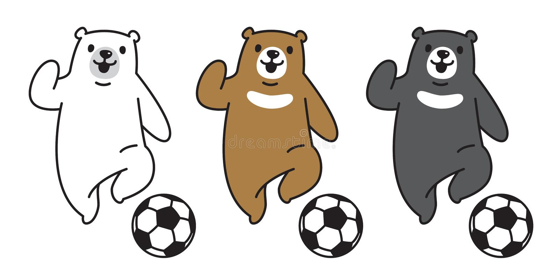 Принесите иллюстрацию шаржа характера символа значка логотипа футбола футбола полярного медведя вектора иллюстрация вектора