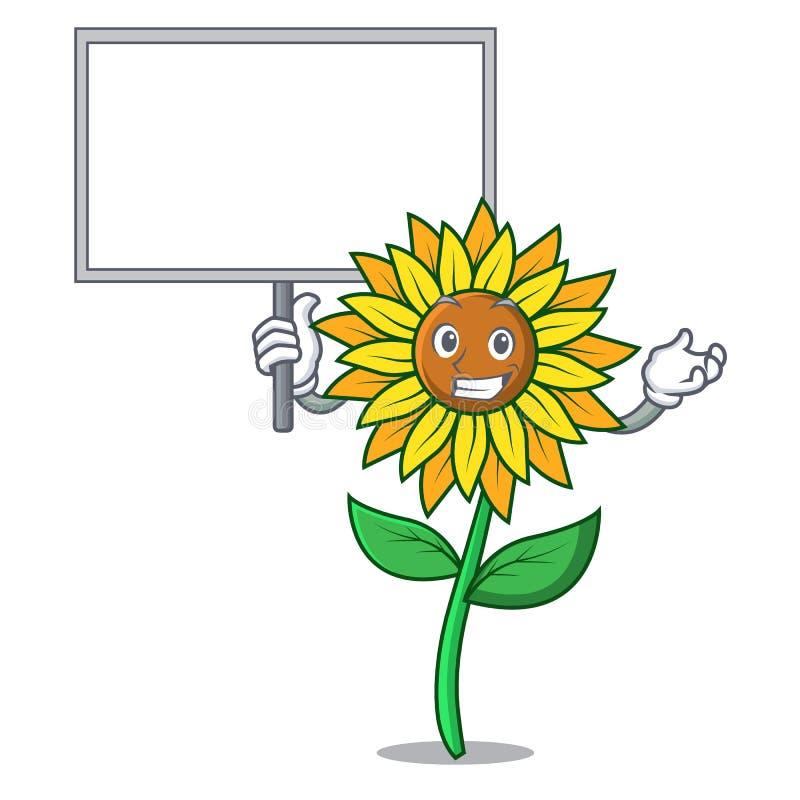 Принесите стиль шаржа характера солнцецвета доски бесплатная иллюстрация