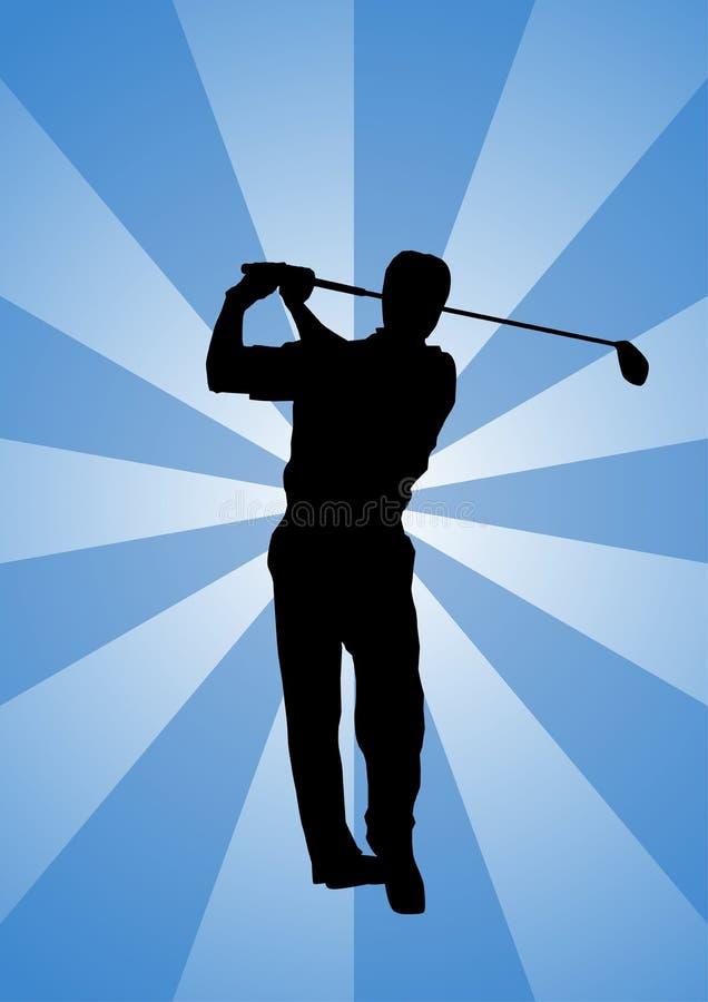 принимать качания силуэта игрока в гольф профессиональный стоковое фото