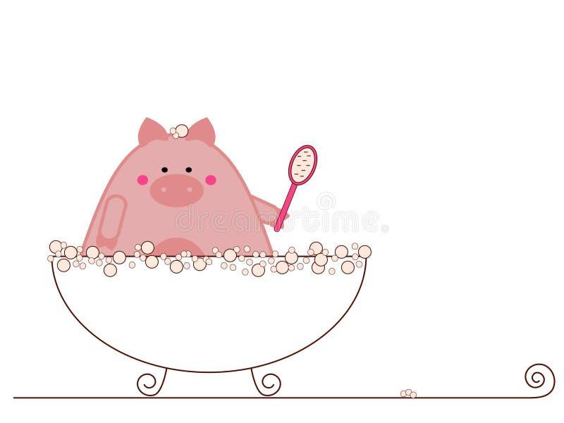 принимать свиньи ванны иллюстрация вектора