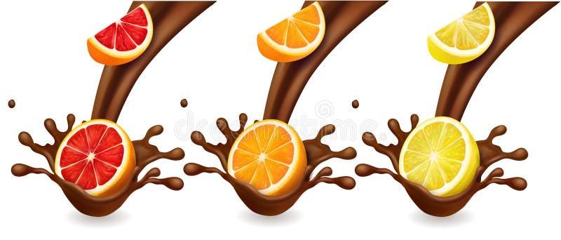 Приносит плоды cutrus в выплеске шоколада Апельсин, лимон, набор вектора грейпфрута реалистический иллюстрация штока