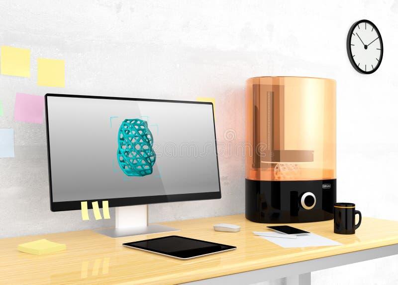 Принтер и настольный компьютер SLA 3D на таблице иллюстрация штока