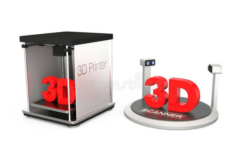 принтер 3D и блок развертки 3D бесплатная иллюстрация