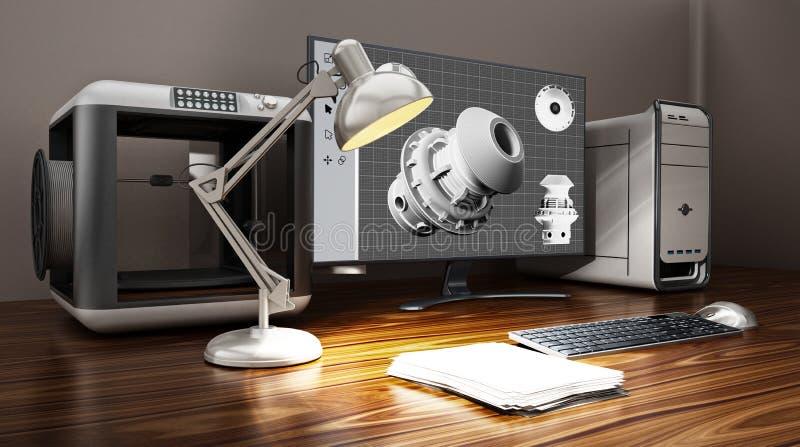 принтер 3D и настольный компьютер стоя на таблице иллюстрация 3d иллюстрация штока