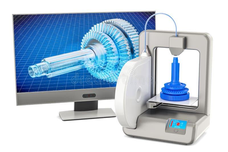 принтер 3d с монитором компьютера, переводом 3D иллюстрация штока