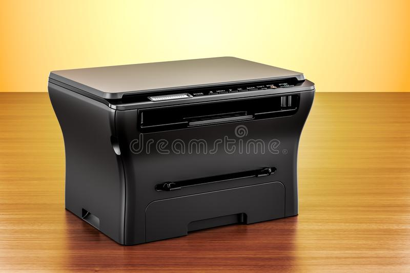 Принтер MFP офиса многофункциональный на деревянном столе renderi 3D иллюстрация штока