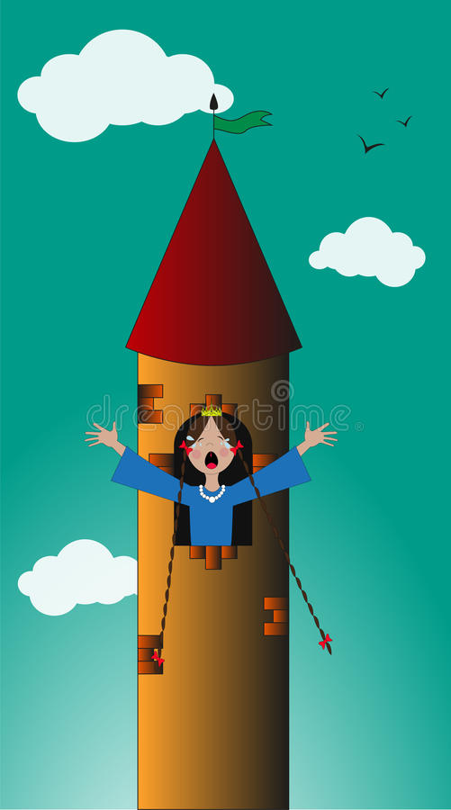 Принцесса в башне бесплатная иллюстрация