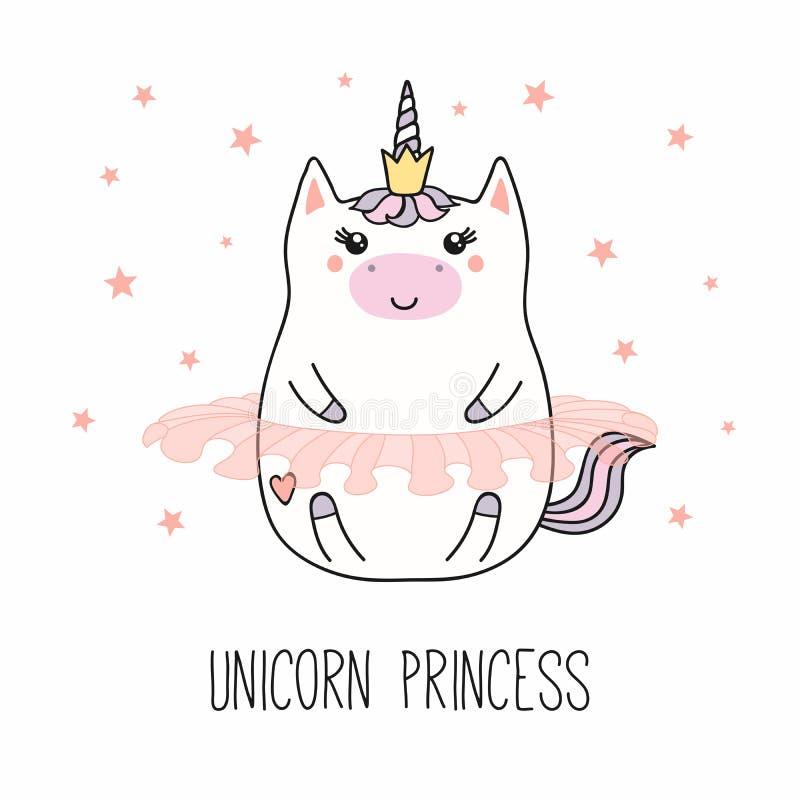 Принцесса единорога Kawaii иллюстрация штока
