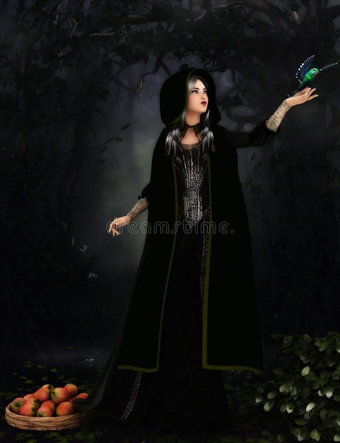 Принцесса держа птицу иллюстрация штока