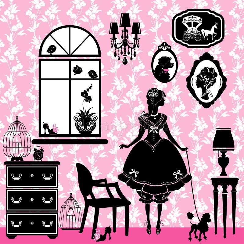 Принцесса Комната с аксессуарами очарования бесплатная иллюстрация