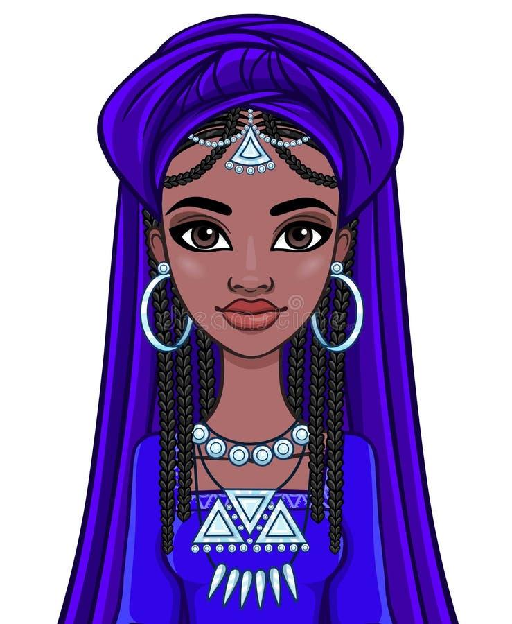Принцесса красивой анимации африканская в старых одеждах и тюрбане иллюстрация штока