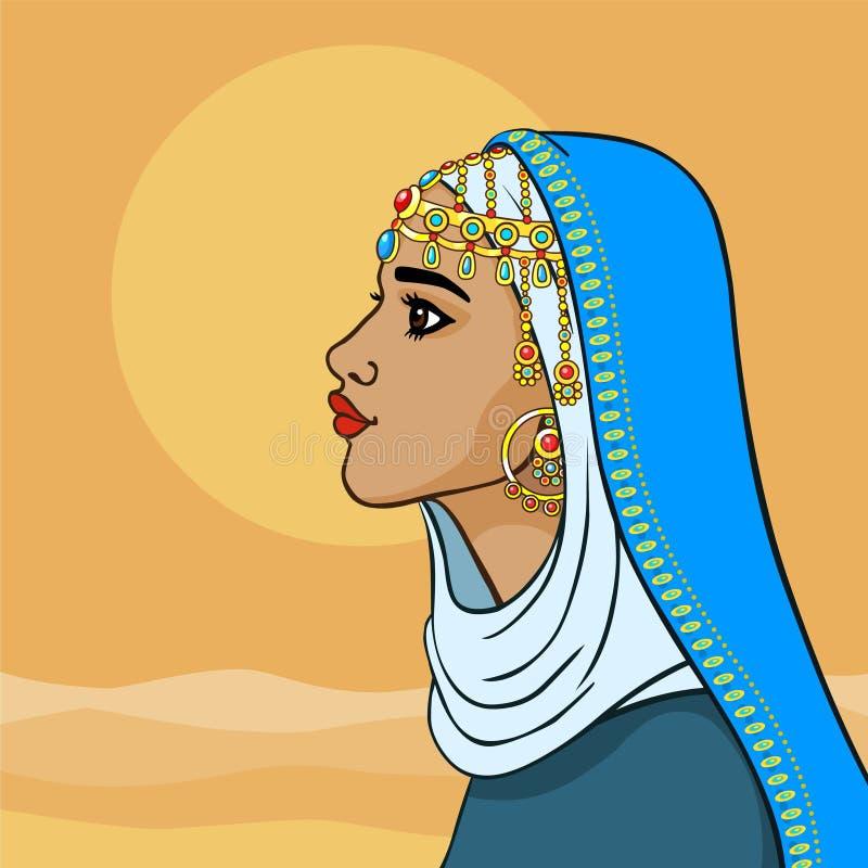 Принцесса сказки восточная в голубых одеждах Взгляд профиля иллюстрация вектора