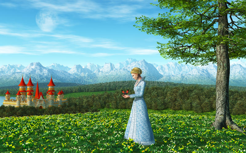 Принцесса сказки иллюстрация штока