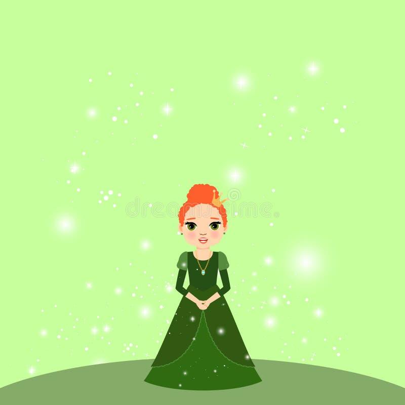 Принцесса шаржа красивая с светами иллюстрация штока