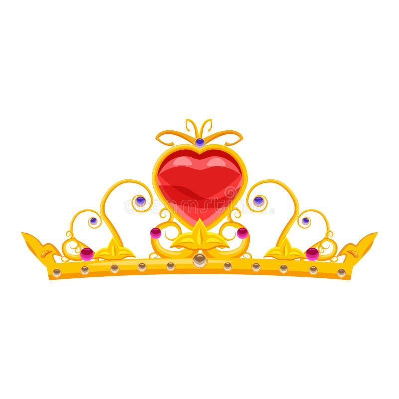 Принцесса Diadem с диамантами и драгоценными камнями, золотом, кроной, сердцем, сказкой, атрибутом для красоты, стиля мультфильма иллюстрация вектора