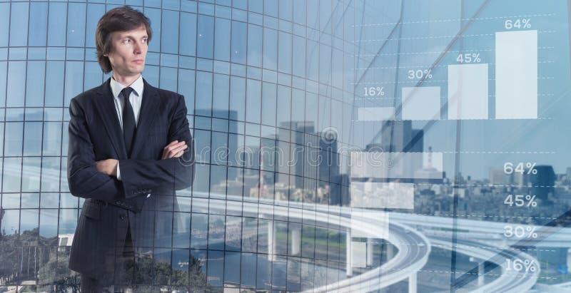 принципиальная схема дела самомоднейшая Умный бизнесмен в коллаже стоковое фото