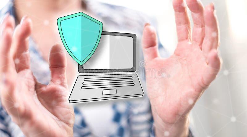 Принципиальная схема защиты данных стоковое фото
