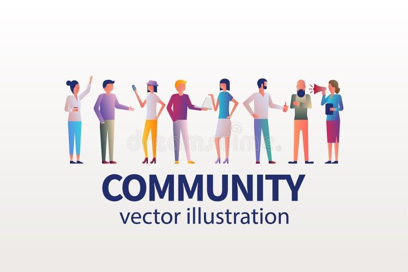 Принципиальная схема общины Молодые современные люди с устройствами иллюстрация вектора