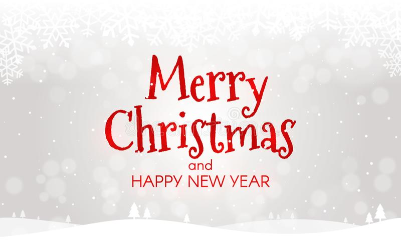 принципиальная схема рождества веселая Новый Год карточки счастливое Ландшафт Xmas с снегом, bokeh и светами Шаблон зимы для сети иллюстрация штока