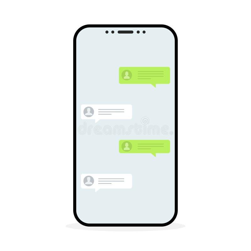 принципиальная схема цифрово произвела высокий social res сети изображения Уведомление сообщений болтовни в smartphone также вект иллюстрация штока