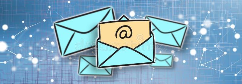 Принципиальная схема электронной почты иллюстрация вектора