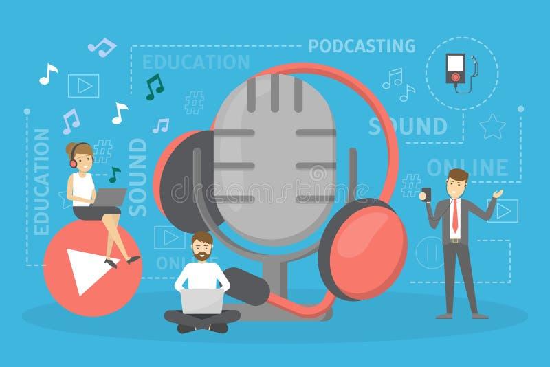 Принципиальная схема Podcast икона 3D Идея podcasting студия и люди иллюстрация вектора