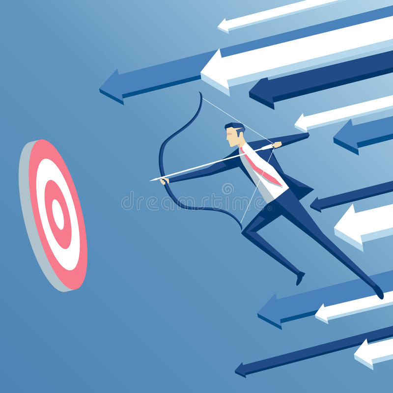 принципиальная схема бизнесмена дела стрелки лучника изолировала успех к белизне иллюстрация штока