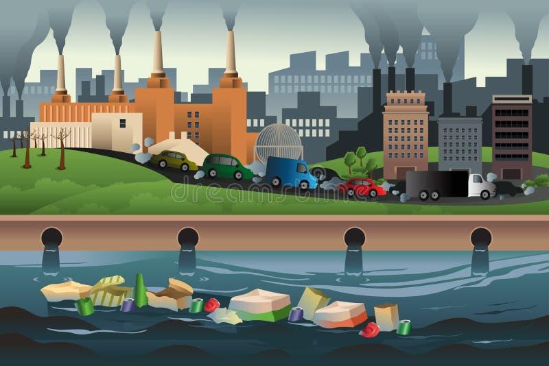 Принципиальная схема загрязнения иллюстрация вектора