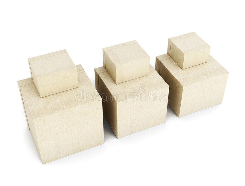 принципиальная схема картона коробок предпосылки свободная изолировала белизну стога перевозкы груза 3d представляют иллюстрация вектора