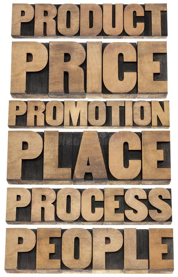Принципиальная схема маркетинговой стратегии - 6P стоковые фотографии rf