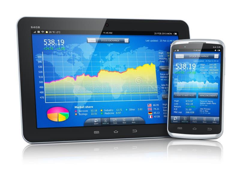 Фондовая биржа на мобильных устройствах бесплатная иллюстрация