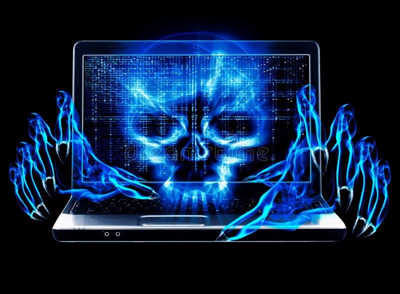Принципиальная схема нападения хакера иллюстрация вектора