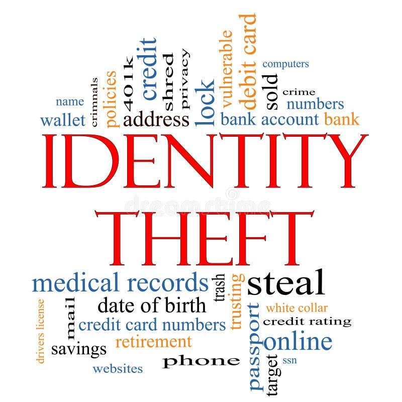 Принципиальная схема облака слова кражи личных данных бесплатная иллюстрация