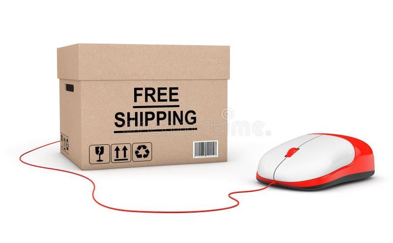 принципиальная схема освобождает перевозку груза Коробка бесплатной доставки подключенная к компьютеру стоковые изображения