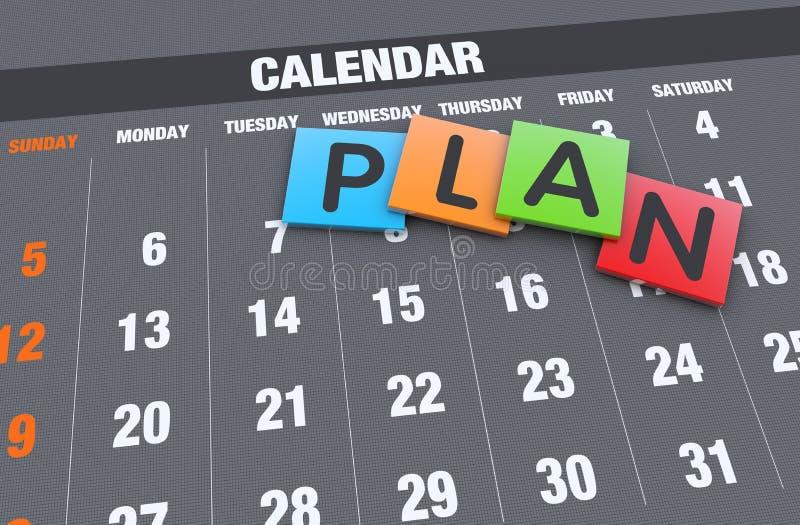 Принципиальная схема планирования календаря иллюстрация штока