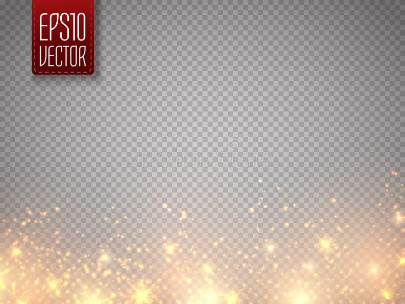Принципиальная схема рождества Влияние предпосылки частиц яркого блеска золота вектора Звезды зарева волшебные изолированные на п иллюстрация вектора